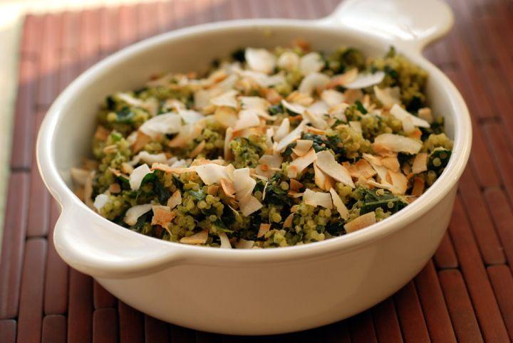 Coconut Quinoa and Kale Salad with a Tropical Cilantro-Cashew Pesto ...