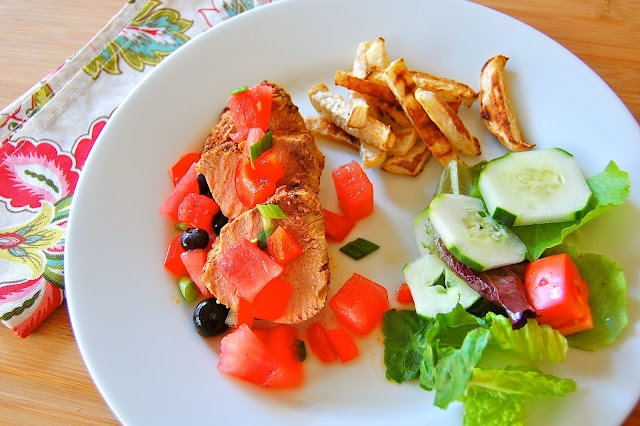 ... Tenderloin with Blueberry-Watermelon Salsa Looks like the 4th of July