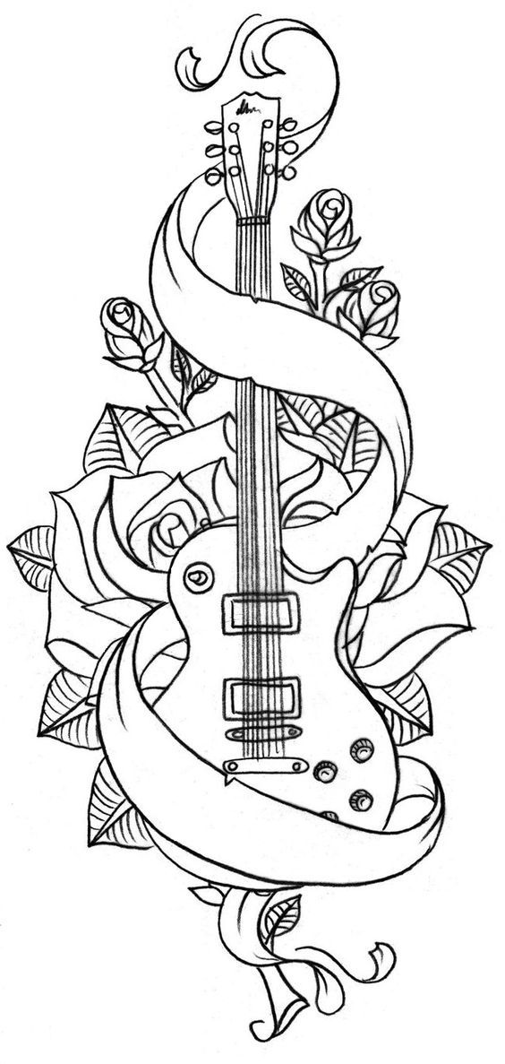 Beautiful Mexican Guitar Coloring Page Motif