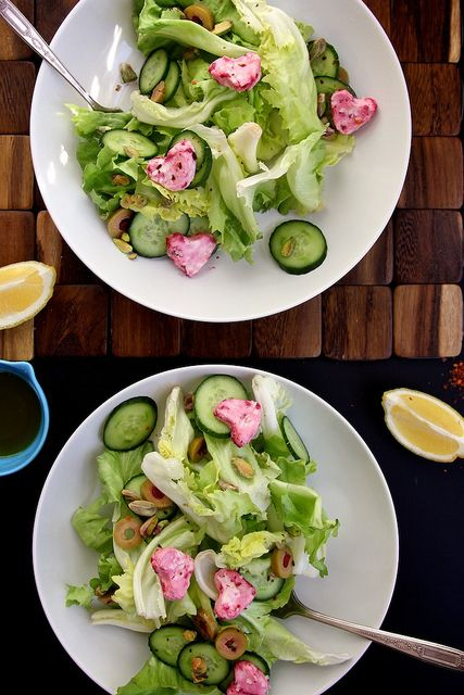 Green Salad with Pink Goat Cheese Hearts | Fooooood | Pinterest