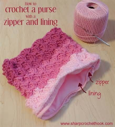 Crochet Zipper Join : Sharp Crochet Hook: Crochet a purse with a lining and a zipper