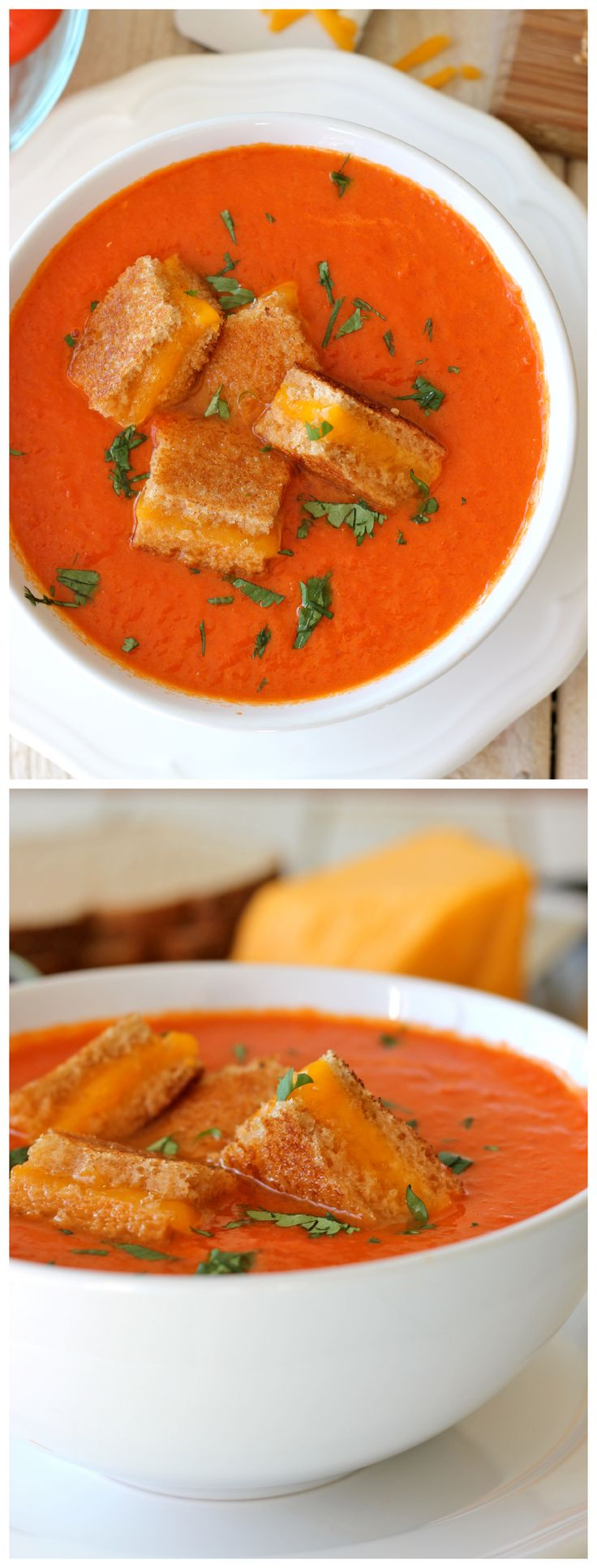 "Creamy Tomato Soup with Grilled Cheese ""Croutons"" - The perfect ..."