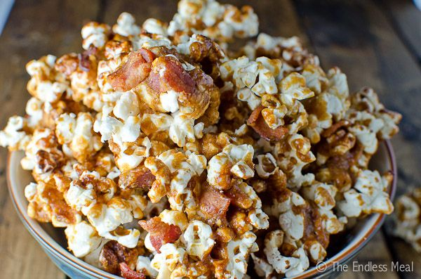 Bacon Bourbon Caramel Popcorn | Snack | Pinterest