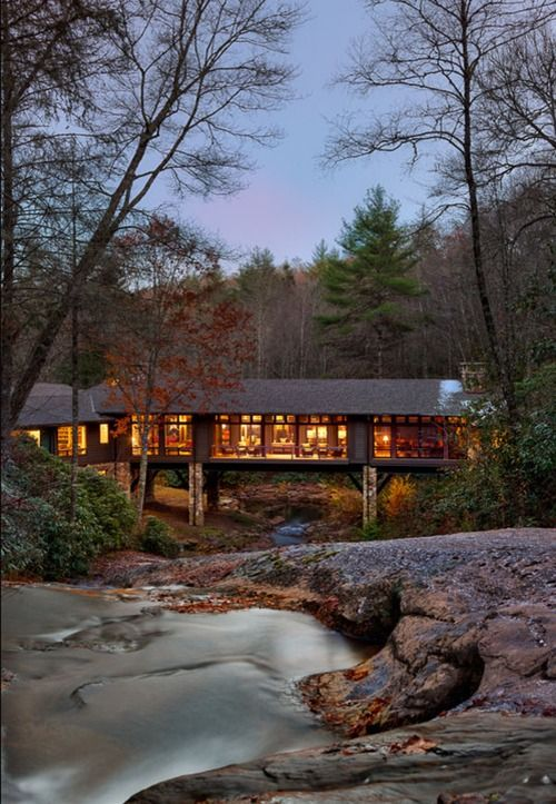 Cabin in Cashiers, NC, with creek below.  Yeah....