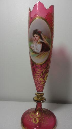 19c Красивые чешские Мозер клюквы красного стекла Портрет ваза ручной росписью