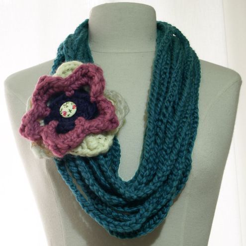 Crocheting Loops : Loopy Loop Crochet Flower Circle Scarf