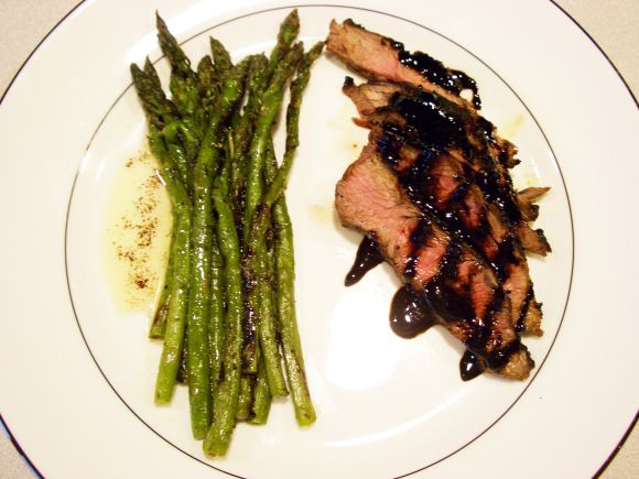 balsamic flat-iron steak and asparagus with brown butter
