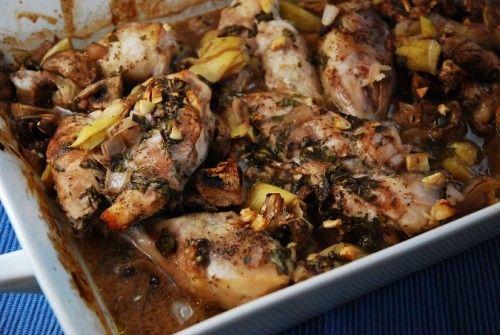 roasted artichoke + mushroom chicken in a red wine + garlic sauce.