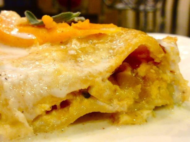 pumpkin and butternut squash lasagna with roasted garlic-sage cream ...