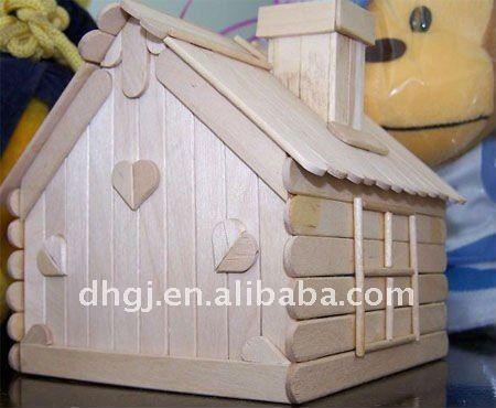 natural de madera de palo de helado de la casa con el corazón-Los ...