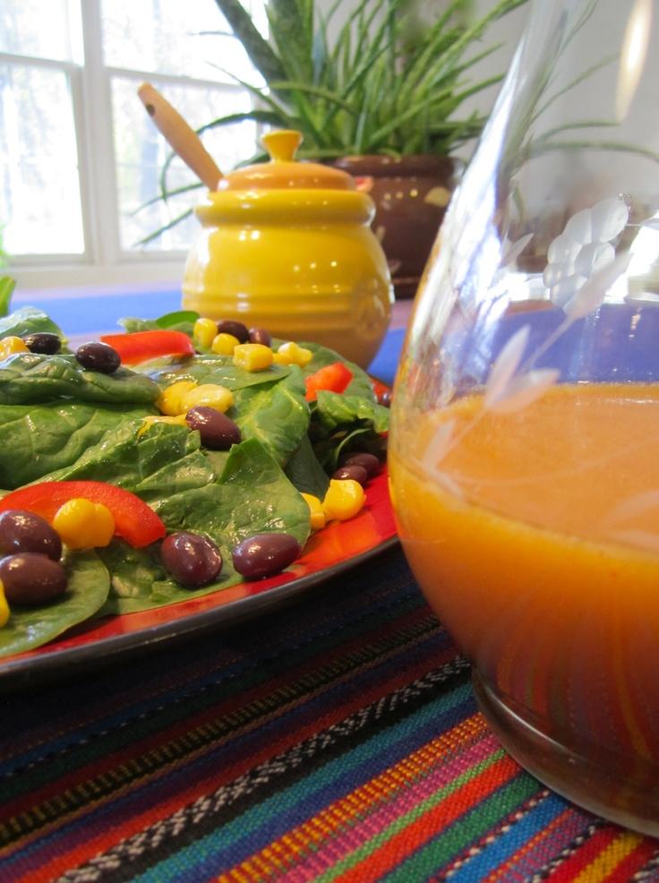 of the border salad with chili lime vinaigrette: 2 T. honey, 6 T. lime ...