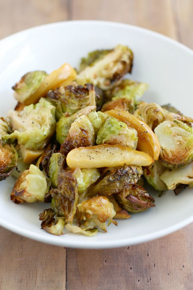 An easy recipe for Brussels sprouts and apples roasted in the oven. A ...