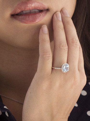 14k white gold aquamarine halo engagement ring