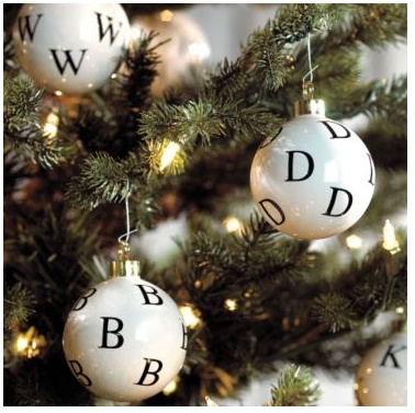 How to make your own alphabet ornaments.  Mini Christmas ornaments with alphabet stamps or mini rub ons & staz-on ink.  Don't use normal stamp ink or it will smear.  Can also do names, special dates, sentimental sayings, etc.