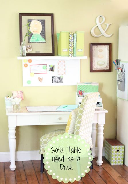 Golden Boys and Me: Kitchen Desk {Repurposed Console Table}