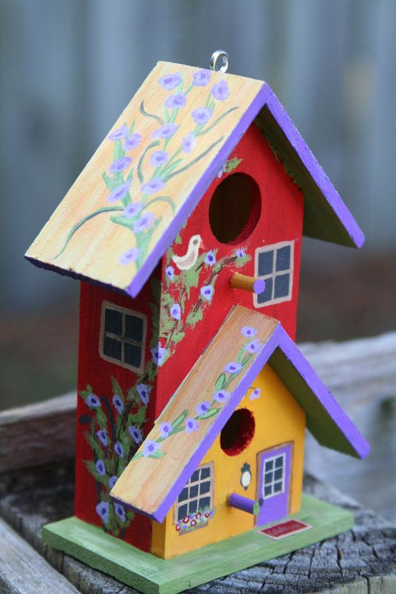 Hand painted miniature birdhouse two story design with - Bird house painting ideas ...