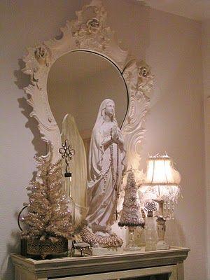 Pretty catholic decor catholic home altar pinterest for Catholic decorations home