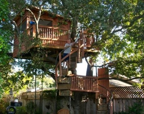Slanted roof tree house tree houses pinterest for How to build a treehouse roof