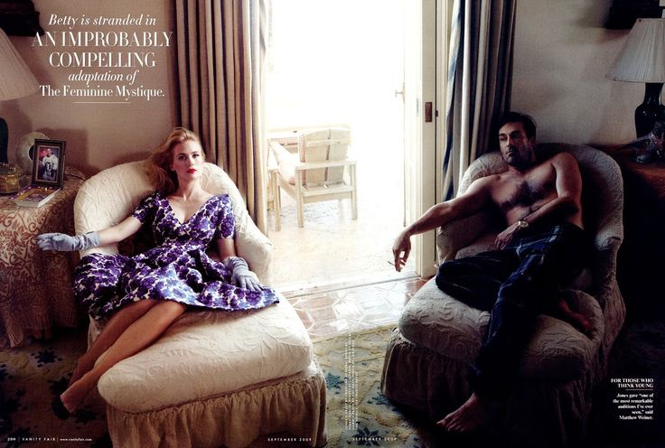 January Jones and Jon Hamm photographed by Annie Leibovitz for Vanity Fair, September 2009