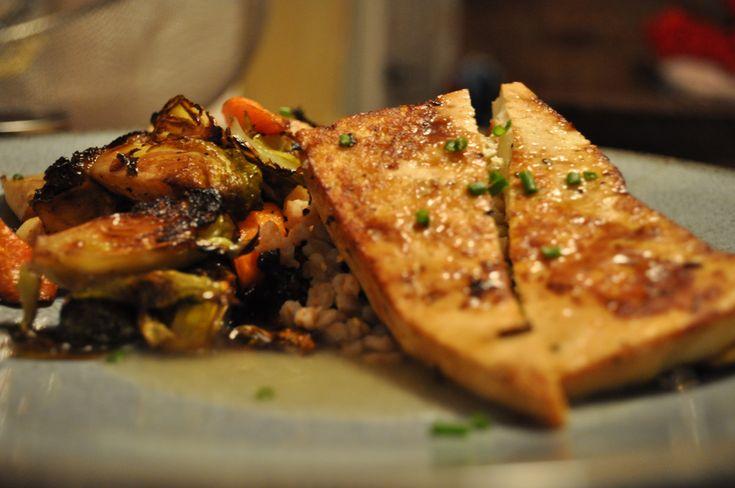 Pan Seared Tofu w. Roasted Vegetables, Sauteed Kale, Farro & Lemon ...