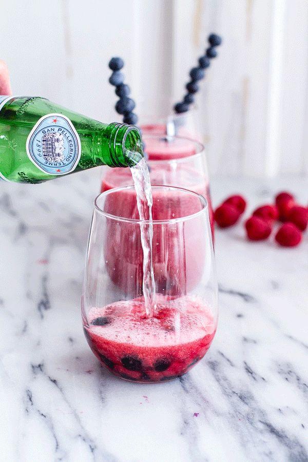Raspberry-Rhubarb Bellini Smoothie with Blueberries (Virgin...or not ...