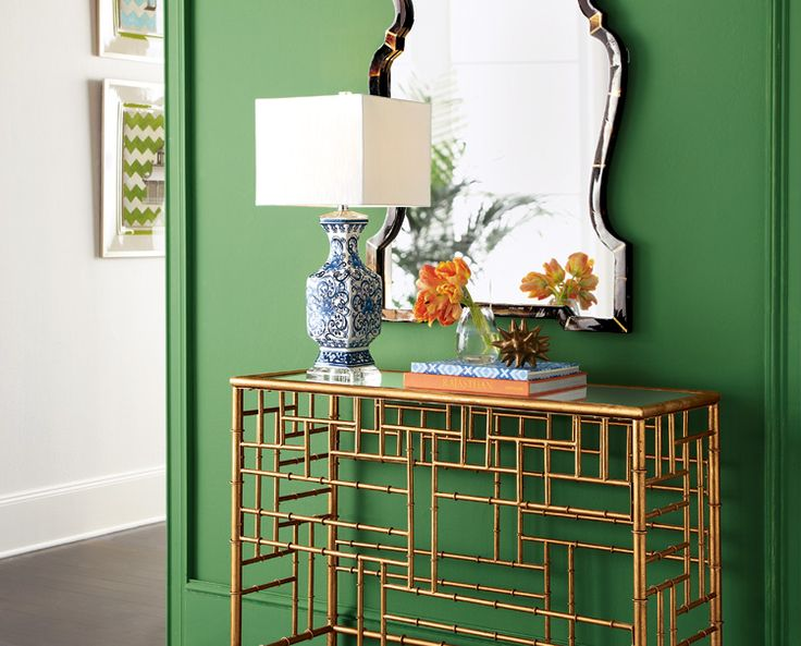 Your #entry is where you make a fabulous first impression, so we immediately swooned over the bamboo fretwork of this slender console #Horchow
