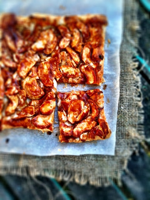 Apple, Rosemary & Cheddar Tart with Dulce de Leche Glaze