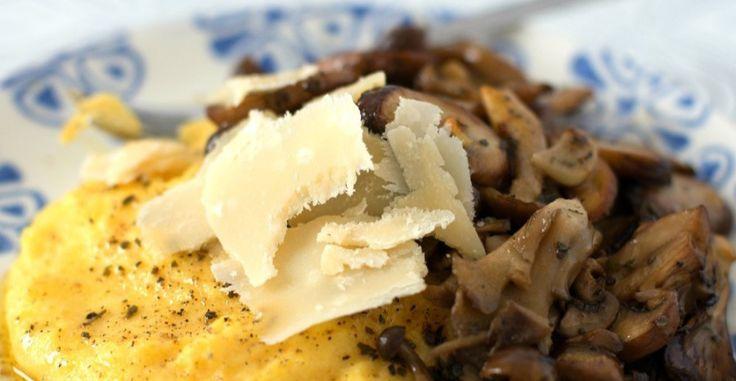 Roasted Garlic Mushrooms with Parmesan Polenta | Recipe