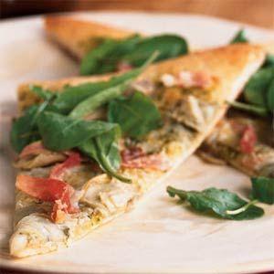 Artichoke and Arugula Pizza with Prosciutto Recipe--Friday Pizza Night?