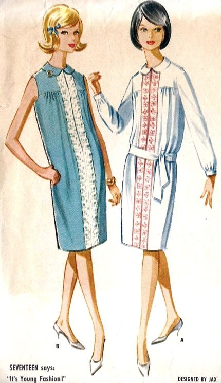McCall's 6671; ©1963; Misses Dress. Yoked dress with front opening, with or without long set in sleeves. Dress is gathered to organdy lined yoke at back and side front. Sleeves are gathered into buttoned bands. Dress front is trimmed with eyelet edging or embroidered ribbon. Opening is closed with snaps. Round collar; separate tie belt with sleeved dress is worn at hipline. drop waist