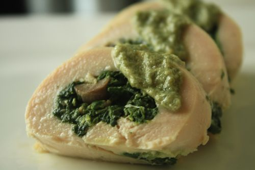 image for Chicken Roulade Stuffed with Spinach, Mushrooms, and Bacon ...
