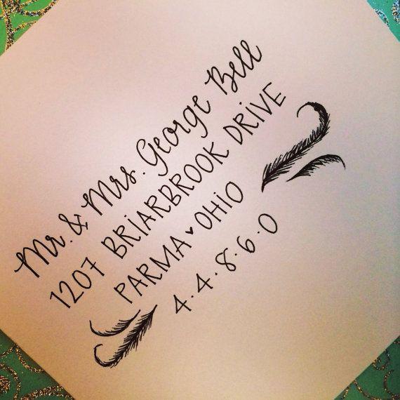 Wedding Calligraphy Envelope Addressing Feather Shabby
