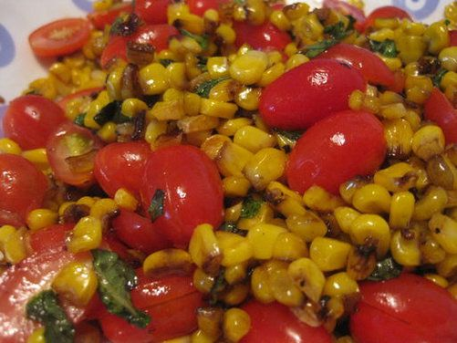 Quick Roasted Corn and Tomato Salad. Used can corn because that is ...
