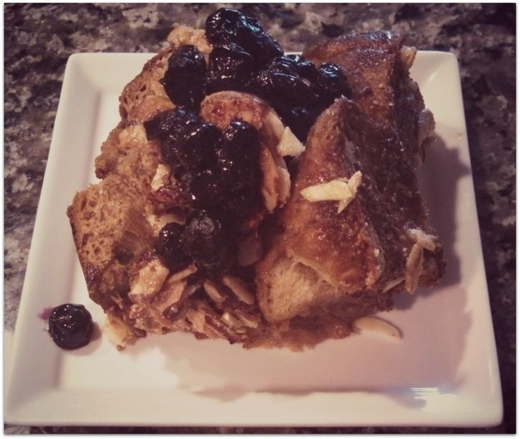 Boozy Baked French Toast with Blueberry Syrup