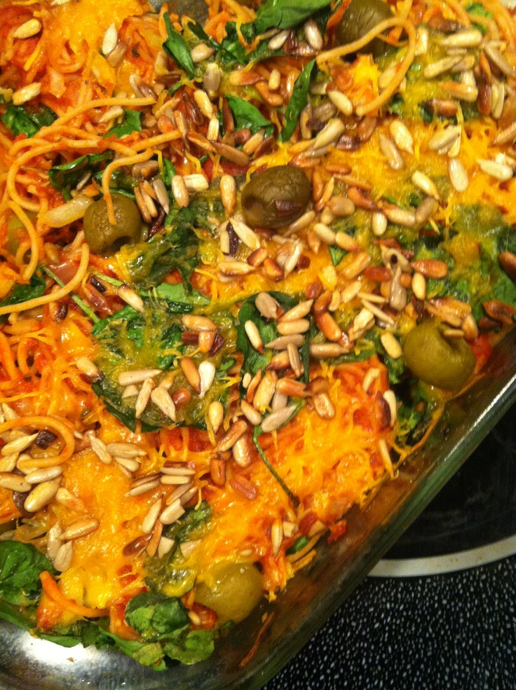 Jan 25: Super easy baked spaghetti: layer cooked spaghetti with a good ...