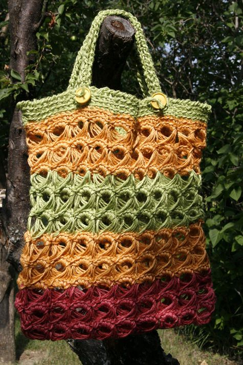 Broomstick Lace bag, handles were created using the afghan stitch and ...
