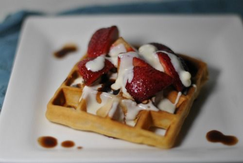 Waffles with Balsamic Macerated Strawberries and Mascarpone
