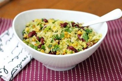 Charred Corn and Cabbage Salad. Sub in black beans for kidney beans ...