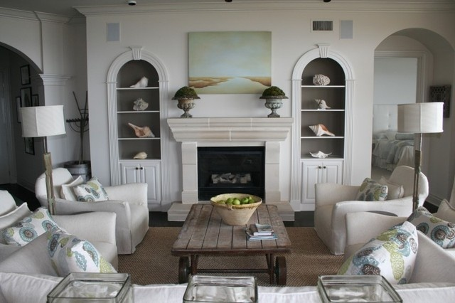 Fireplace And Shelves For Beach House Living