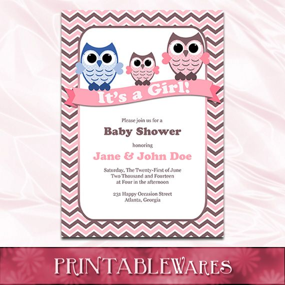 Printable Owl Themed Baby Shower Invitations for Girls: pinterest.com/pin/410109109790900652