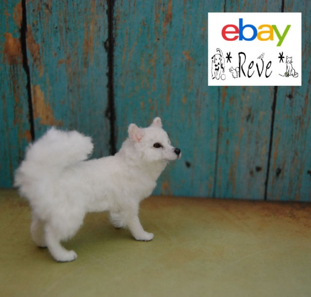 1:12 scale miniature dollhouse American Eskimo dog by Reve