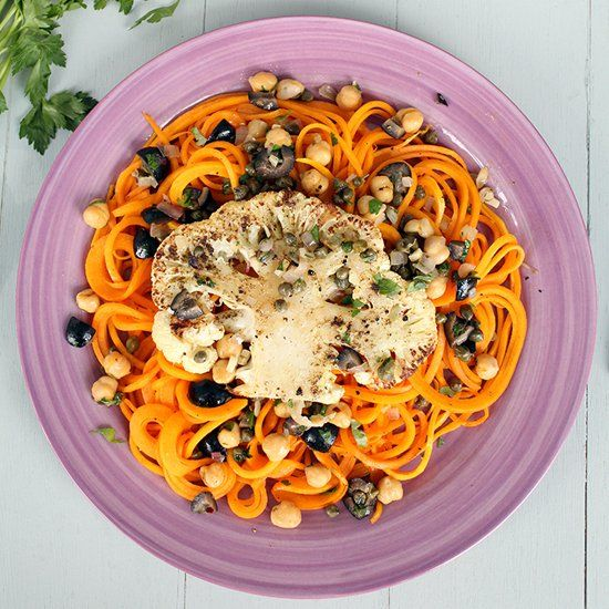 Pecorino Butternut Squash Noodles with Cauliflower Steak and a Olive ...