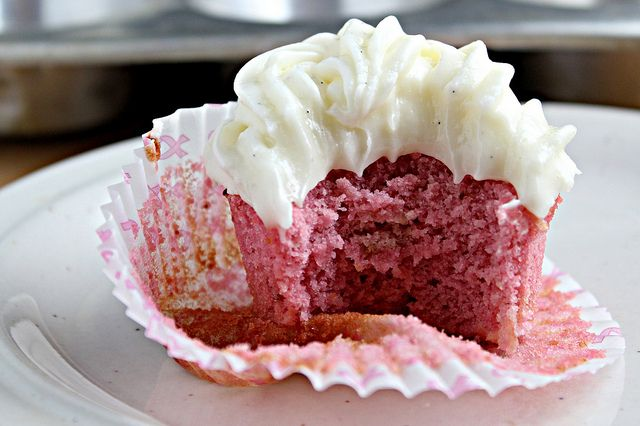 Pink Lady Cupcakes (Strawberry Cupcakes with Cream Cheese Frosting)