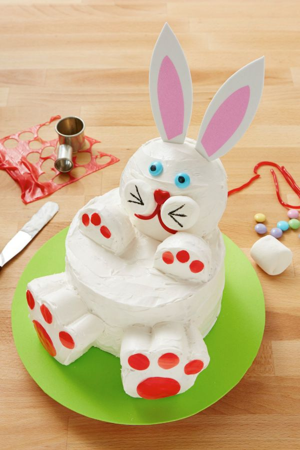 Bake up this easy bunny cake made with two cake rounds and some ...