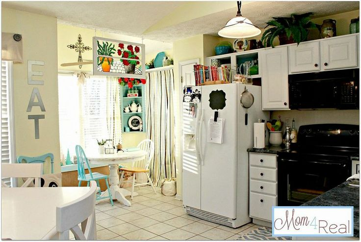 Hometalk  Open Kitchen Cabinets with Aqua, White, Lime Green, and