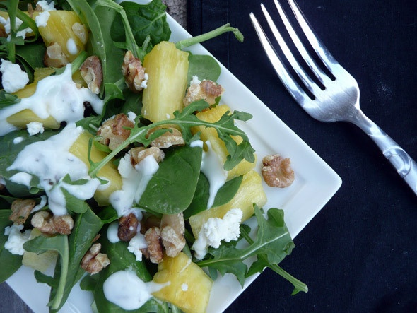 with Toasted Walnuts & Goat Cheese Spinach Arugula Mix Fresh pineapple ...