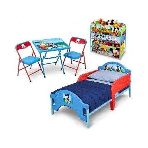 Disney Mickey Mouse 3 Piece Toddler Bedroom Set Child Storage Table C