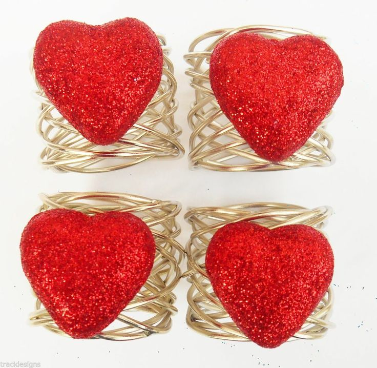 Lot 4 red glitter heart valentine 39 s day napkin rings 4pc for Table 52 valentine s day