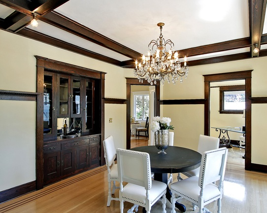 great dining room with dark trim For the Home
