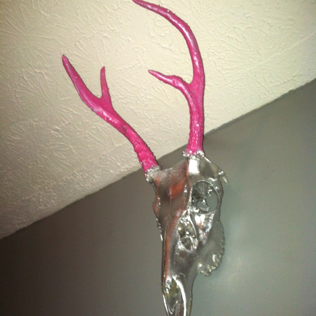 Cotton candy glitter glass coated antlers